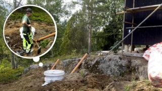 Sprängning eller gräva för VVS och avlopp, stugan i viken